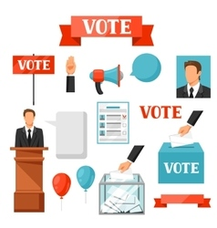 Vote political elections set of objects vector image vector image