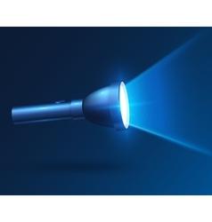 Blue realistic shining flashlight in darkness vector