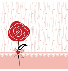 Card design with red rose vector image vector image