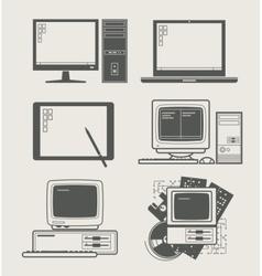 computer set icon vector image vector image