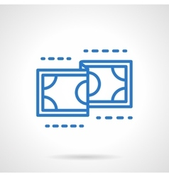 Currency icon blue simple line style vector image
