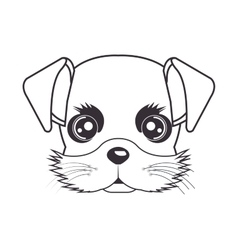 Hand drawing cute face puppy vector