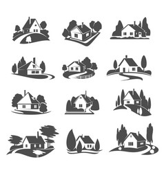 icons of house for real estate company vector image vector image