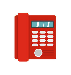 red classic business office phone icon flat style vector image