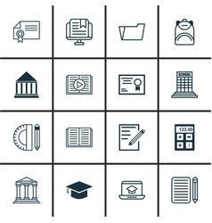 Set of 16 education icons includes e-study home vector
