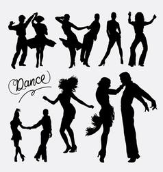 Tango salsa couple dancer silhouette vector image vector image
