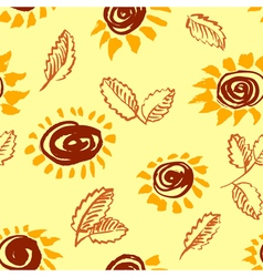Artistic seamless pattern with flower and leaf vector image vector image