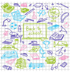 back to school hand drawn colored silhouettes on vector image vector image
