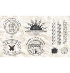 Beer emblems labels badges vector image