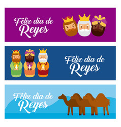 christmas banners with the three wise men and vector image