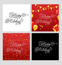 happy holidays banners set vector image
