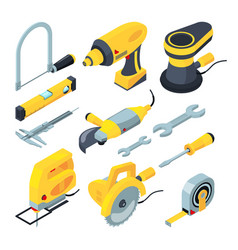 isometric tools for construction 3d vector image