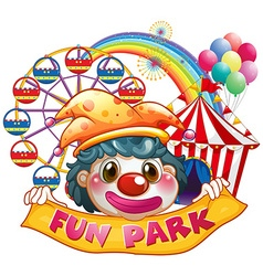 Jester holding funpark banner vector image