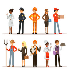 people group in different professions fireman vector image vector image