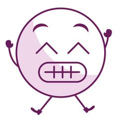 sorry face emoticon kawaii character vector image