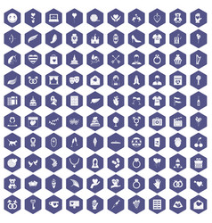 100 heart icons hexagon purple vector