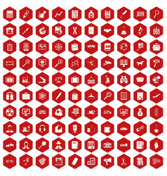 100 magnifier icons hexagon red vector