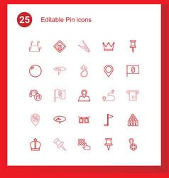 25 pin icons vector