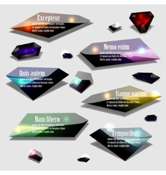 Abstract polygonal jewel bubble label banner set vector image
