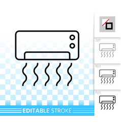 air conditioner simple black line icon vector image