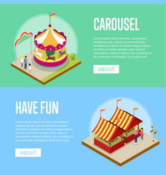 Amusement park isometric horizontal flyers vector