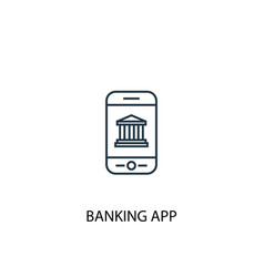 banking app concept line icon simple element vector image