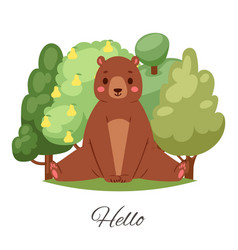 bear hello lettering cartoon vector image