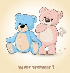 Birthday Card with Teddy Bears vector image