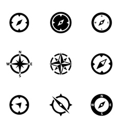 Black compass icon set vector