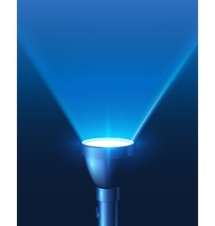 Blue shining flashlight light background vector image