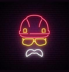 builder neon sign helmet construction icon vector image