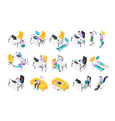 burnout syndrome isometric icons vector image
