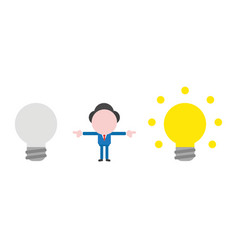 businessman character between light bulbs bad and vector image