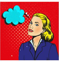businesswoman interested in communicating pop art vector image