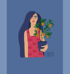 Cancer zodiac sign with girl vector