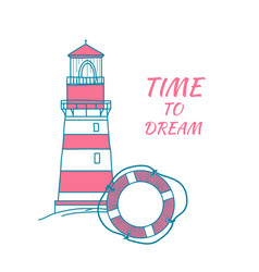 Card in a nautical theme with lifebuoy and vector