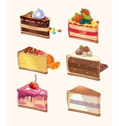 Cartoon cake pieces vector image