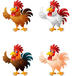 cartoon funny chicken collection set vector image