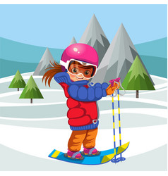 Cartoon girl skiing on hill in suit on holiday vector