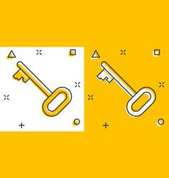 Cartoon key icon in comic style secret keyword vector
