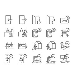 check-in and check-out line icon set vector image