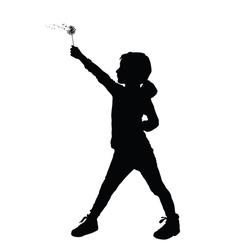 Child holding dandelion silhouette vector