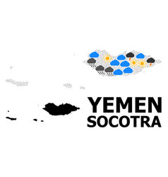 Climate collage map socotra archipelago vector