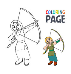 coloring page with woman archer cartoon vector image