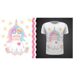 cute unicorn - idea for print t-shirt vector image