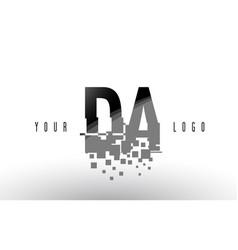 Da d a pixel letter logo with digital shattered vector