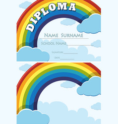 Diploma and background template with rainbow in vector