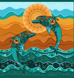 dolphin in the sea in the sun-3 vector image