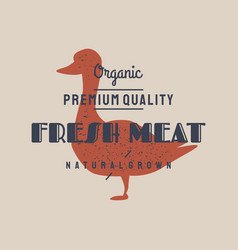 duck meat vintage logo retro print art vector image