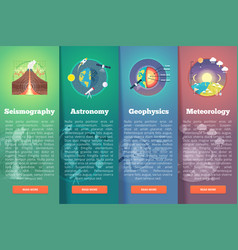 earth planet science banner set seismography vector image